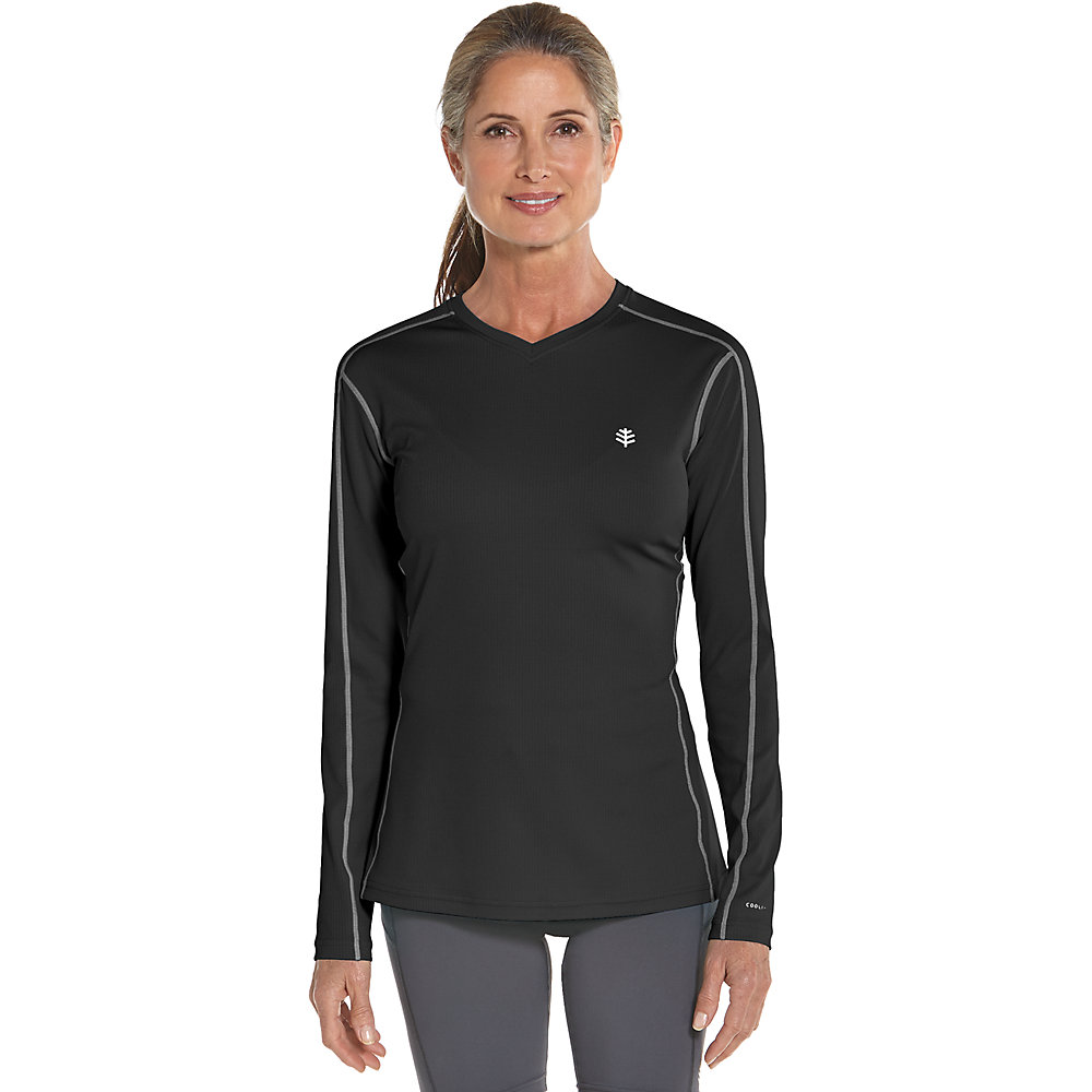 Coolibar upf 50 women 39 s long sleeve cool fitness shirt for Sun protection golf shirts