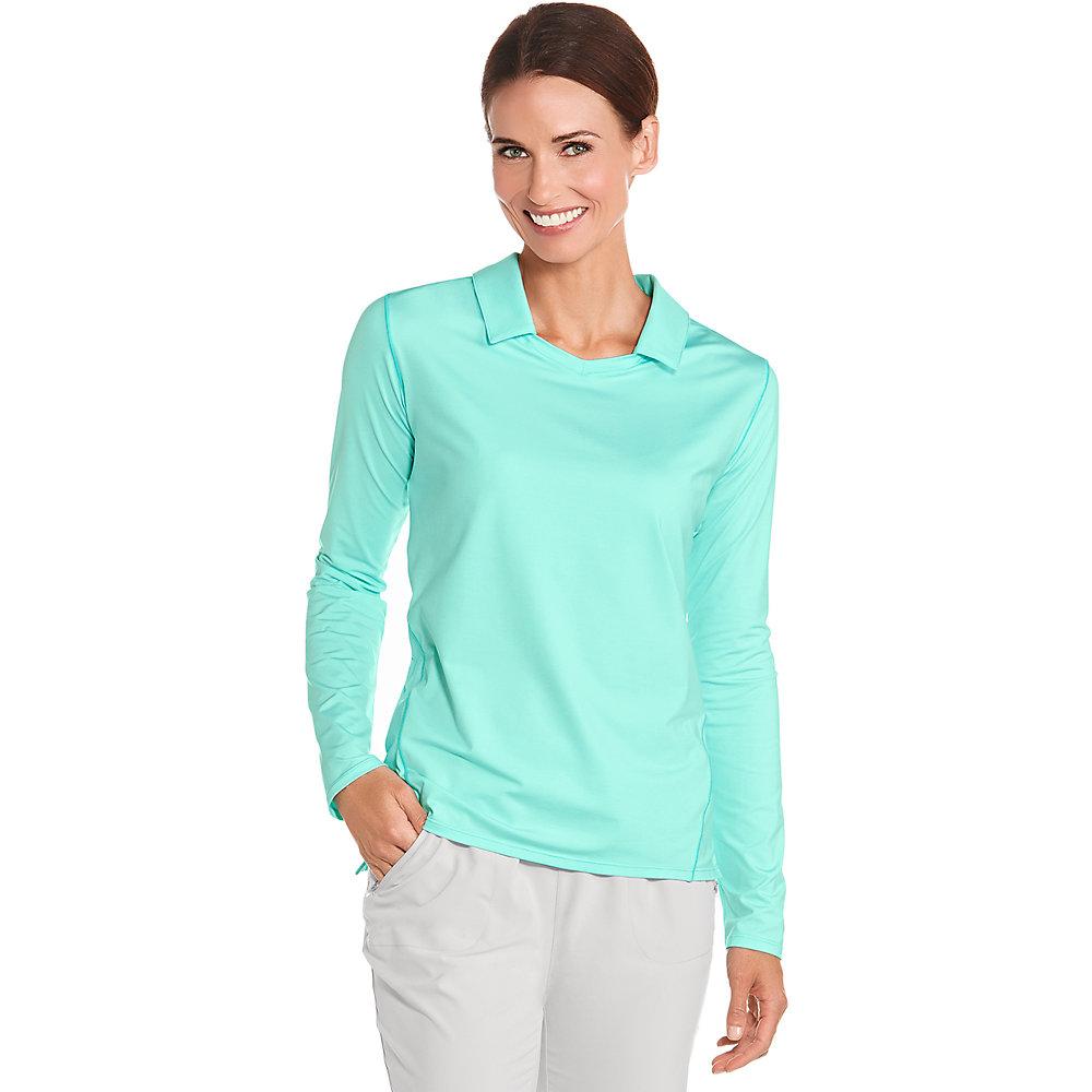 Coolibar upf 50 women 39 s long sleeve golf polo ebay for Sun protection golf shirts