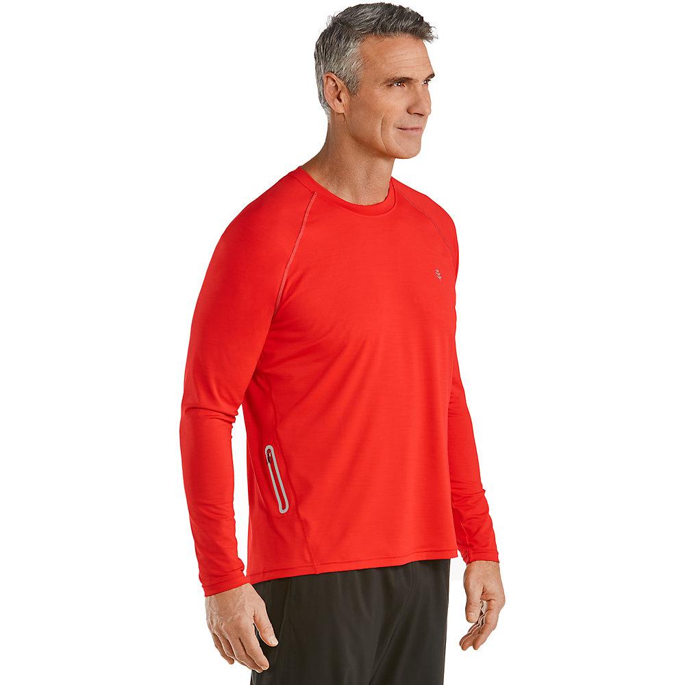 Coolibar upf 50 men 39 s long sleeve running shirt ebay for Mens long sleeve uv protection shirt
