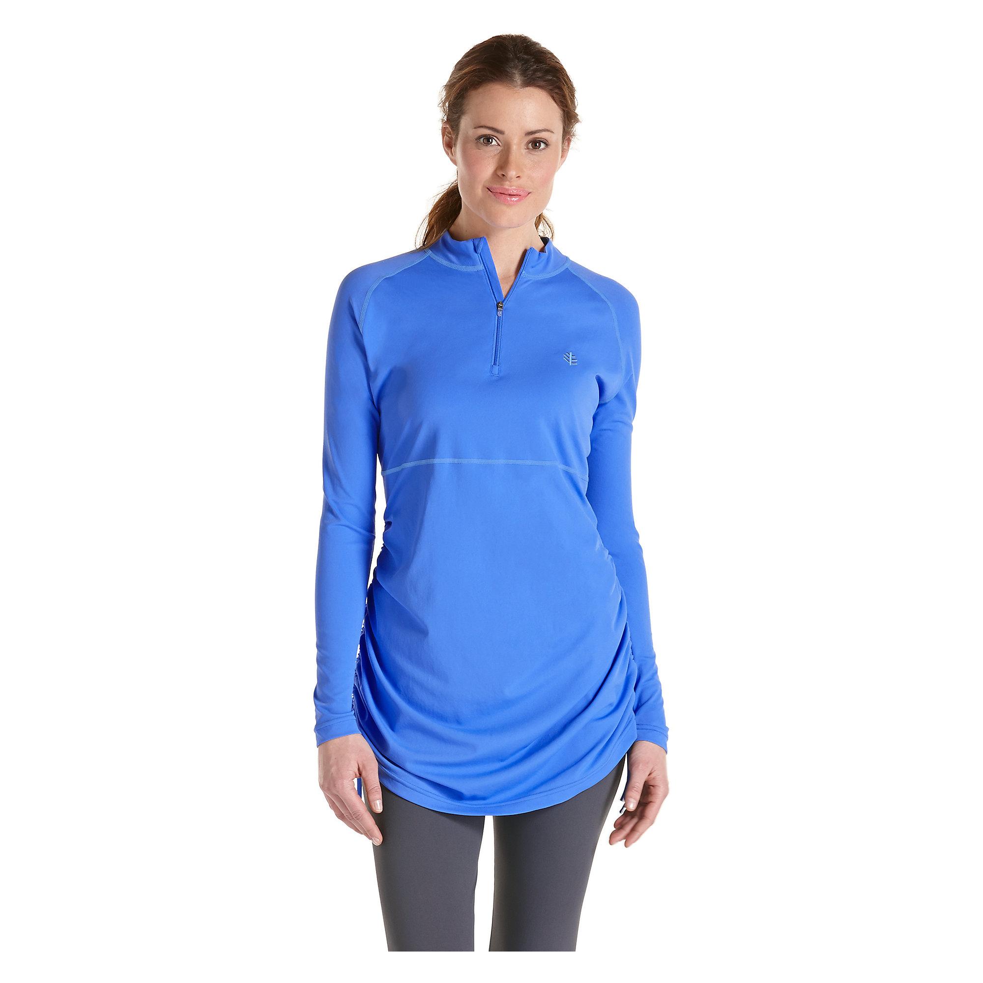 Coolibar upf 50 women 39 s ruche swim shirt sun protective for Custom sun protection shirts