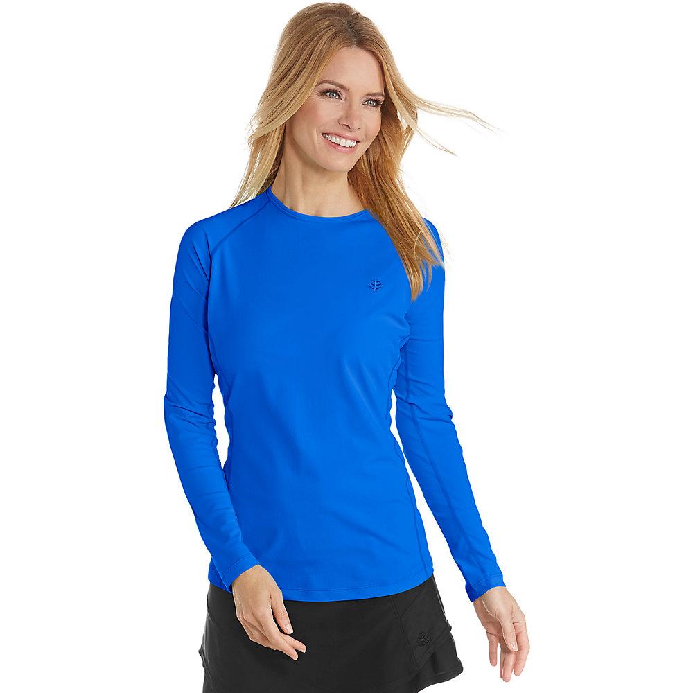 Coolibar upf 50 women 39 s long sleeve swim shirt ebay for Uv shirts long sleeve