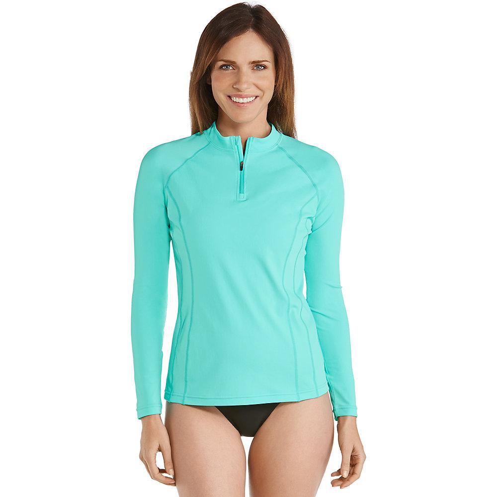 Coolibar upf 50 women 39 s long sleeve rash guard ebay for Womens rash guard shirts