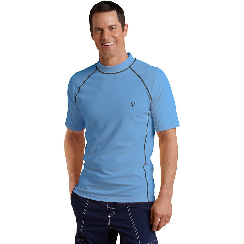 Coolibar upf 50 men 39 s short sleeve swim shirt for Wearing t shirt in swimming pool
