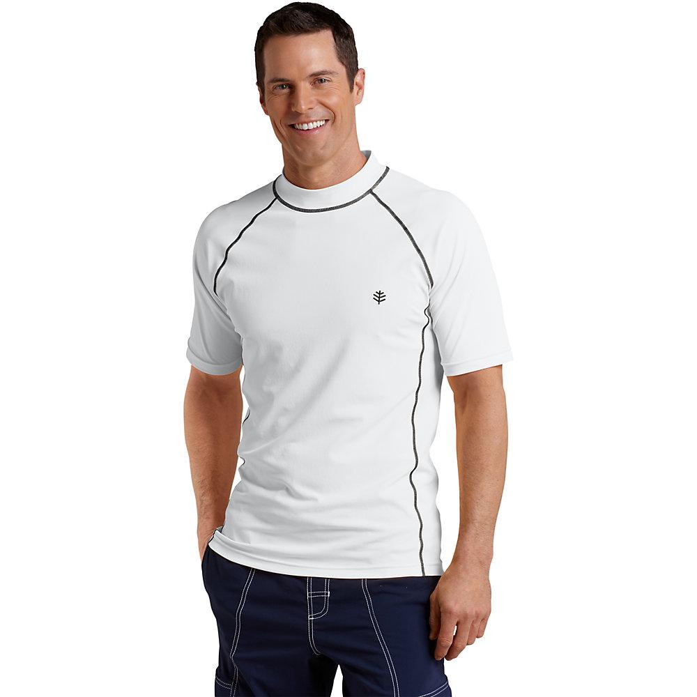 Coolibar upf 50 men 39 s short sleeve swim shirt ebay for Men s uv swim shirt short sleeve