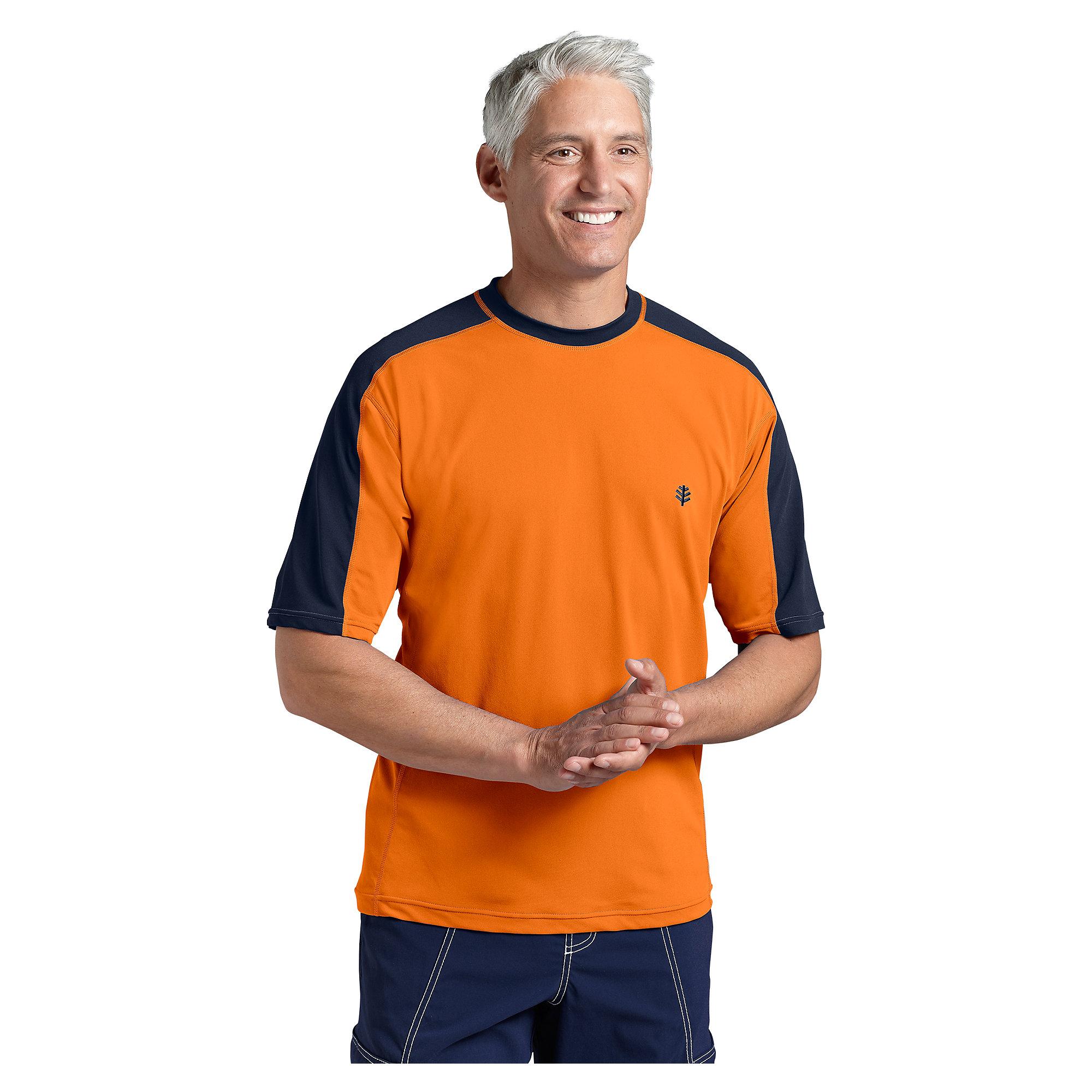 Coolibar upf 50 men 39 s short sleeve crewneck swim shirt ebay for Men s uv swim shirt short sleeve