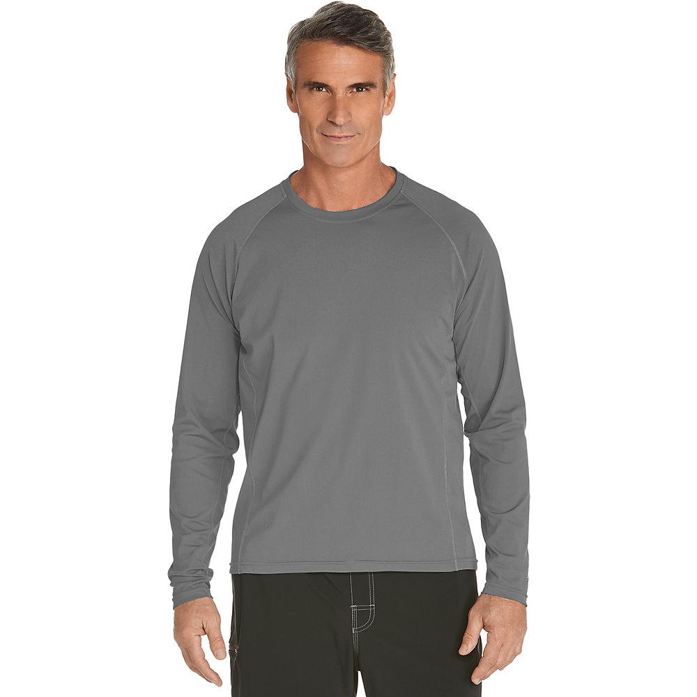 Coolibar upf 50 men 39 s long sleeve swim shirt ebay for Men s uv swim shirt short sleeve