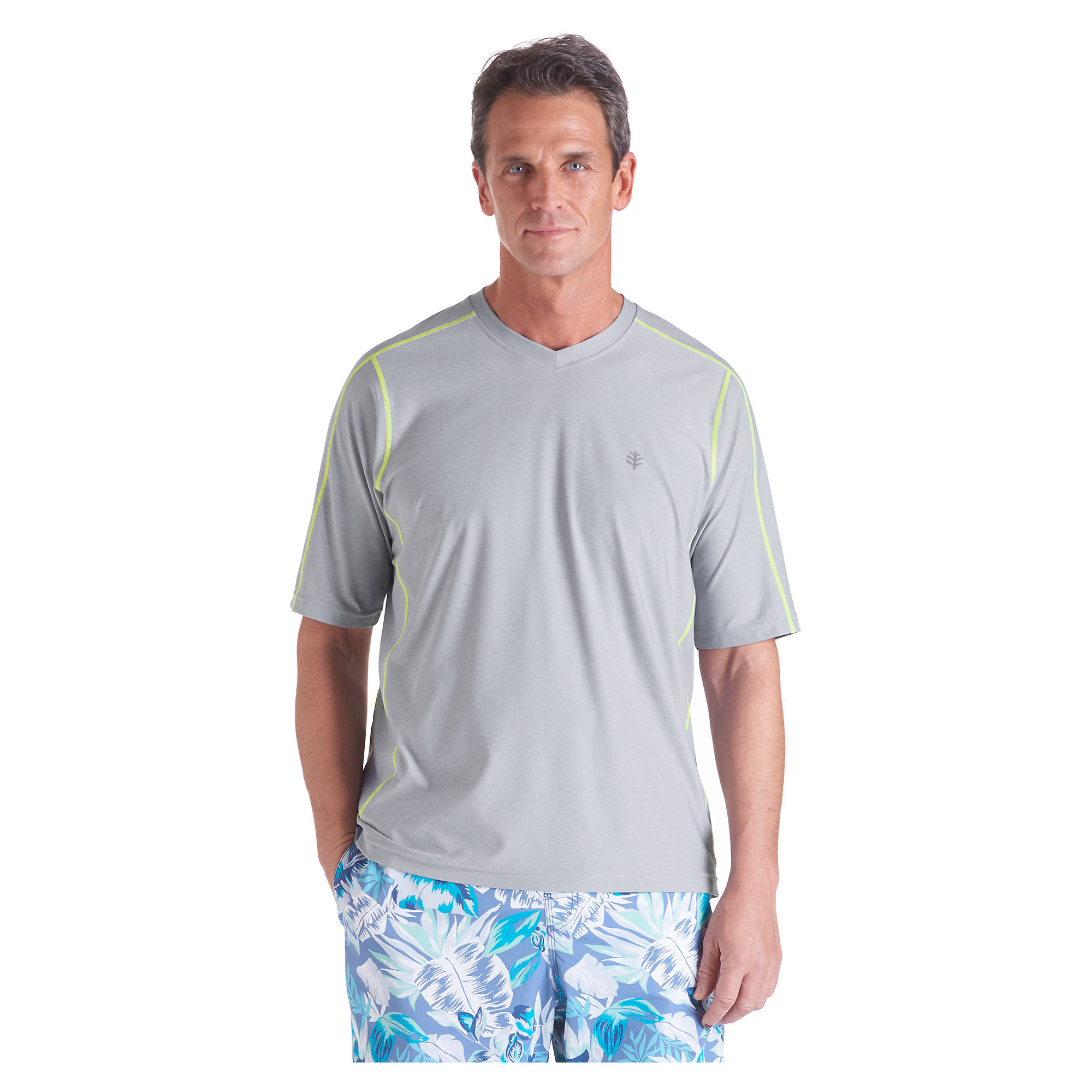 Coolibar Upf 50 Men 39 S Short Sleeve Aqua T Shirt Uv