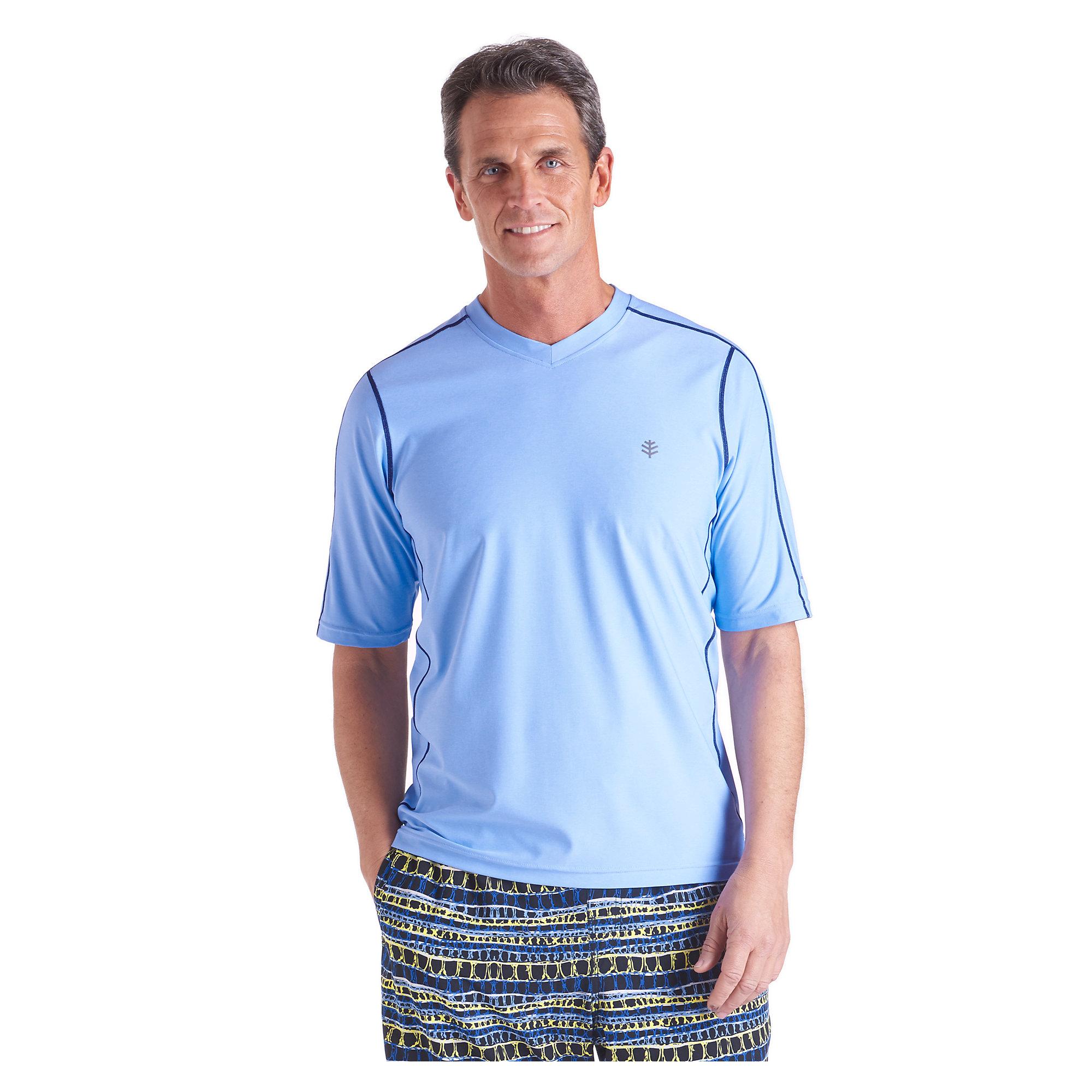 coolibar upf 50 men 39 s short sleeve aqua t shirt uv