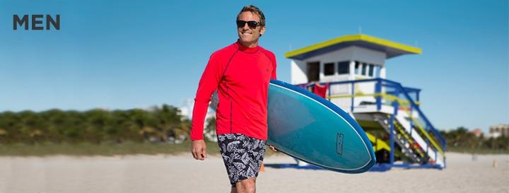 Men's UPF 50+ Sun Protection: Clothing, Sun Hats, Swimwear