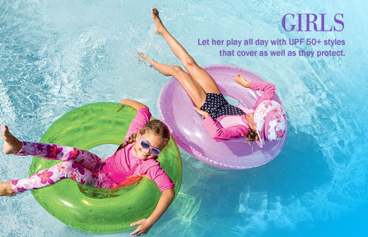 UPF 50+ Girls: Swimwear, Clothing, Sun Hats