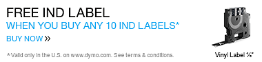 Buy 10 IND Labels Choose 1 For Free. Valid only in the U.S. on www.dymo.com. Offer expires Dec 31, 2014.