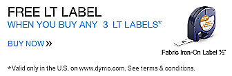 Black Friday - Cyber Monday Sale. 11/28-12/1. Free LT Label when you buy any 3 LT Labels or more on DYMO.com*