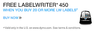 Free LabelWriter® 450 when you buy 20 LW Labels. Valid only in the U.S. on www.dymo.com. Offer expires August 16, 2016.