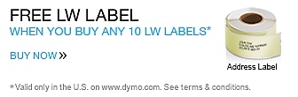 Buy 10 LabelWriter Labels Get a LW Address Label For Free. Valid only in the U.S. on www.dymo.com. Offer expires Dec 31, 2014.