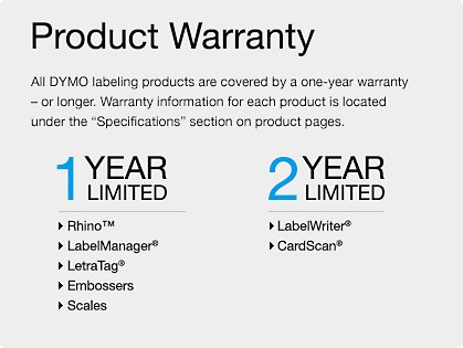 Product Registration Warranty Dymo