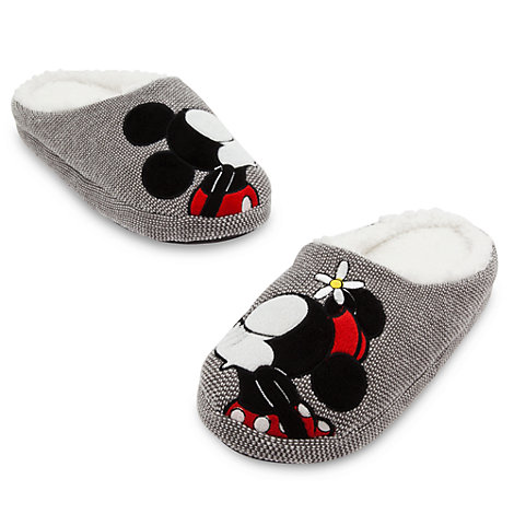Mickey And Minnie Mouse Kissing Adult's Slippers