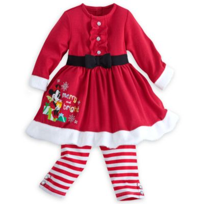 Minnie Mouse Christmas Baby Dress And Leggings Set
