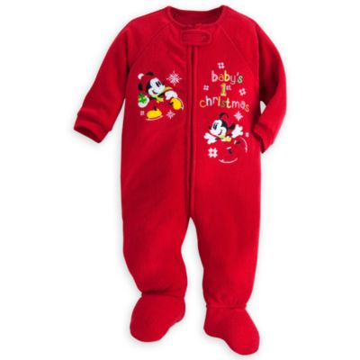 Mickey And Minnie Mouse Festive Collection Baby Sleepsuit