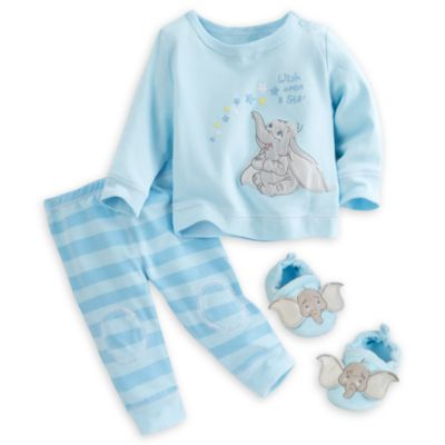 Dumbo Layette Baby Knitted Top, Trousers And Slippers Set