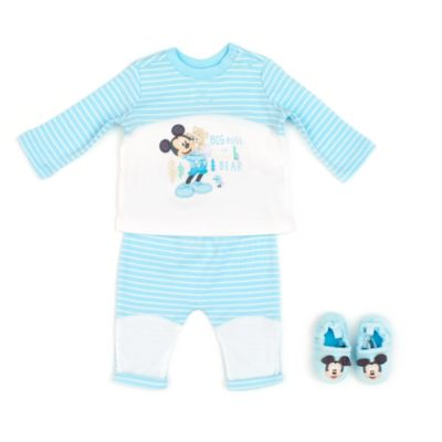 Mickey Mouse Layette Pyjamas and Slippers Baby Set