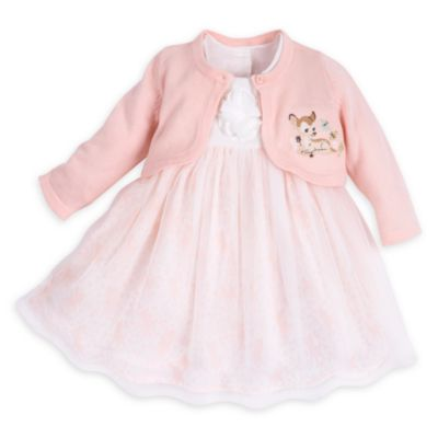 Bambi Layette Fancy Baby Dress and Cardigan Set
