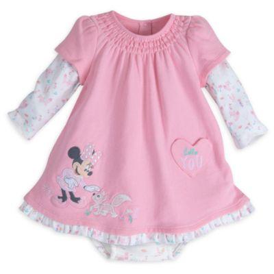 Minnie Mouse Layette Baby Dress and Headband Set