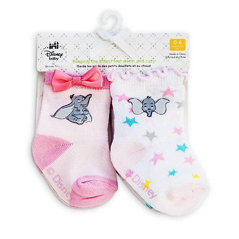 Dumbo Layette Pink Baby Socks, 2 Pairs