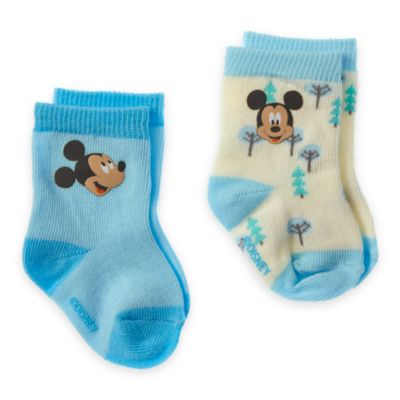 Mickey Mouse Layette Baby Socks, 2 Pairs