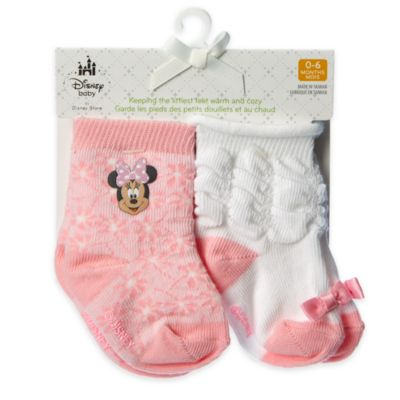 Minnie Mouse Layette Baby Socks, 2 Pairs