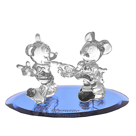 Arribas Glass Collection, Mickey And Minnie Mouse Figurine