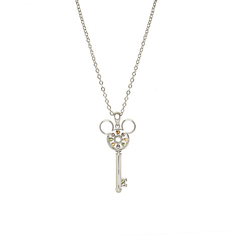 Mickey Mouse Icon Silver Key Necklace, Arribas Jewelled Collection