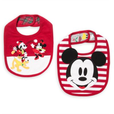 Mickey and Minnie Mouse Festive Baby Bib, 2 Pack