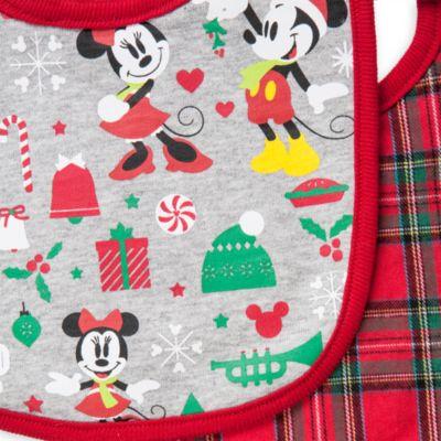 Lot de 2 bavoirs collection Mickey and Minnie Mouse Festive, pour bébé