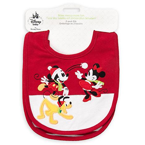 Micky und Minnie Maus - Weihnachtliche Lätzchen für Babys, 2er-Pack