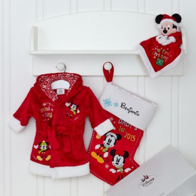 Mickey and Minnie Mouse 'My 1st Christmas' Unisex Personalised Baby Gift Set