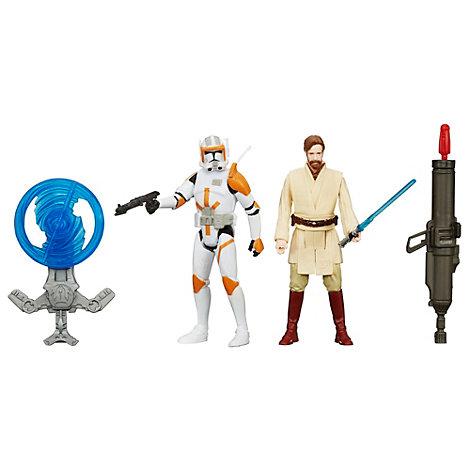 Muñecos de acción Obi-Wan Kenobi y Comandante Cody, Star Wars (9,5 cm)