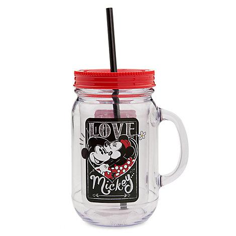 Mickey And Minnie Mouse Love Jam Jar Cup With Straw