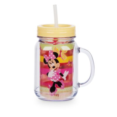 Minnie Mouse Jam Jar Cup With Straw