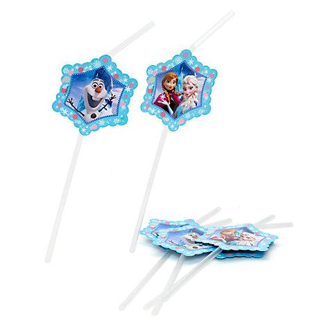 Lot de 6 pailles flexibles La Reine des Neiges