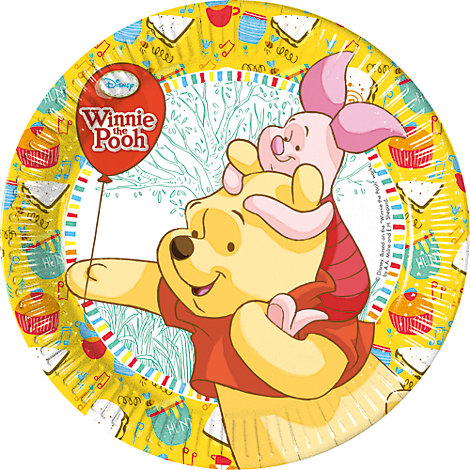 Lot de 8 assiettes de fête Winnie l'Ourson