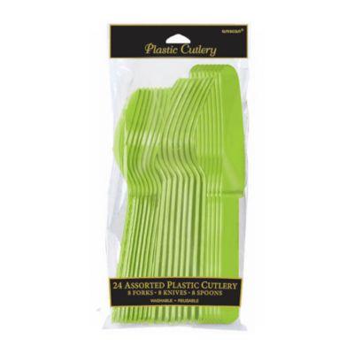 Cubertería color verde (24 u.)