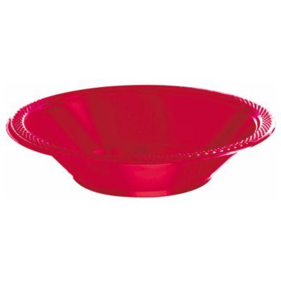 Lot de 20 assiettes creuses de fête rouges