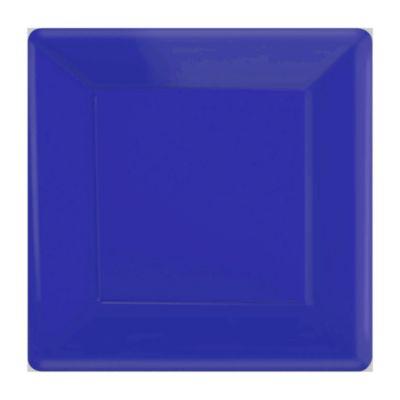 Lot de 20 assiettes de fête carrées bleues