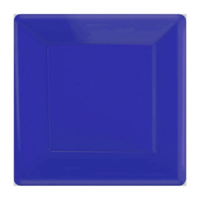 Blue 20x Square Party Plates Set