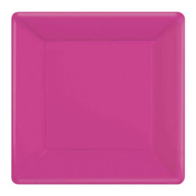 Pink 20x Square Party Plates Set