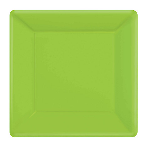 Lot de 20 assiettes de fête carrées vertes