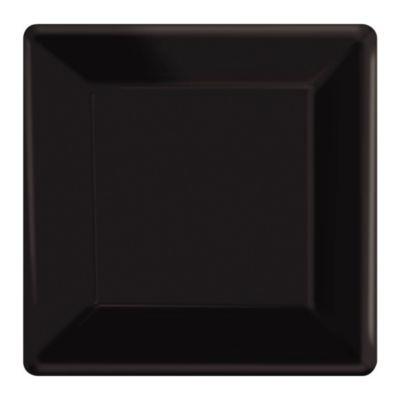 Lot de 20 assiettes de fête carrées noires