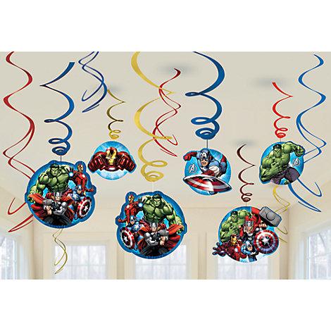 Lot de 6 décorations de fête tourbillonnantes Avengers