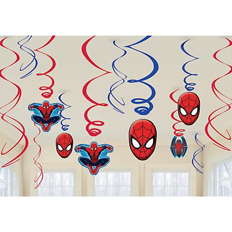 Lot de 6 décorations de fête tourbillonnantes Spider-Man
