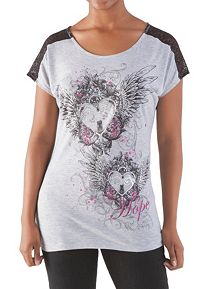 Short Sleeve Wing Hearts Lace Inset Breast Cancer Top